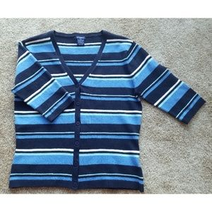 GUESS Striped 3/4 Length Sleeves Cardigan